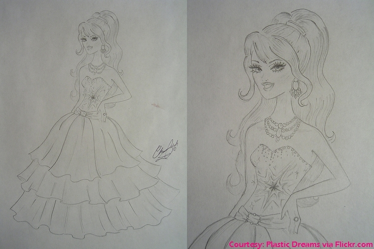 A Fashion Fairytale - Original Drawing for Barbie's dress