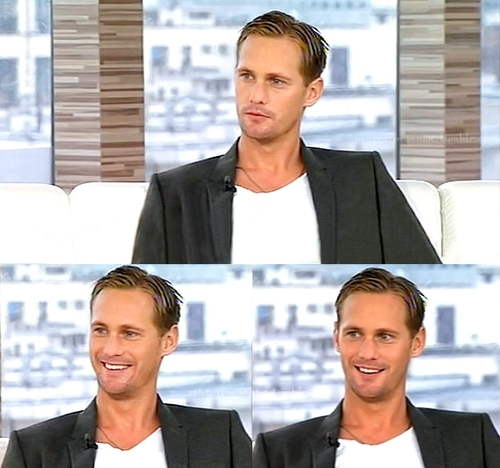 Alexander Skarsgård wallpaper with a business suit, a suit, and a well dressed person titled Alexander in Poland for Season 3 of True Blood (sept.28th)