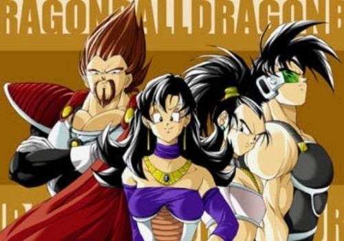 Bardock and Fasha with King Vegeta with his wife.