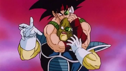 Bardock choking a soldier from frieza