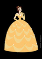 Belle in Her Yellow Ball Gown Against a Black Background