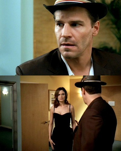 Temperance Brennan پیپر وال possibly with a fedora, a business suit, and a sign entitled Brennan & Booth