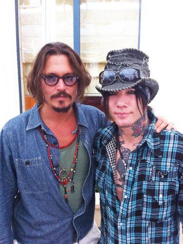 Johnny Depp with armas N' rosas guitarist DJ Ashba in Paris 9/13/10