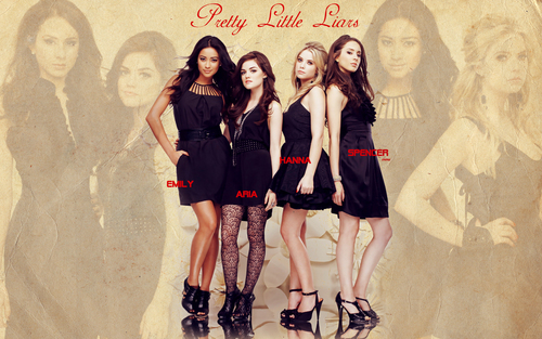 Pretty Little Liars la serie tv wallpaper probably with hosiery, a hip boot, and a playsuit, salopette corta called Pretty Little liars