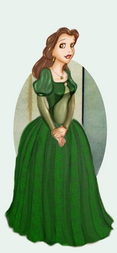 Belle wallpaper possibly with a polonaise, an overskirt, and a hoopskirt called Princess Belle in a Green Dress