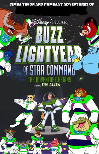 Simba Timon and Pumbaa's adventures in Buzz Lightyear of estrella command movie poster
