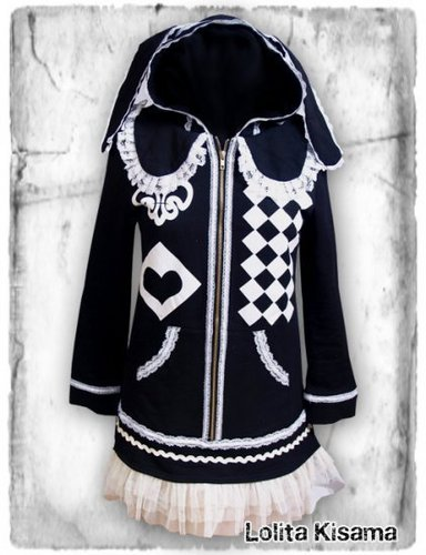 Japanese Street Fashion wallpaper containing a dashiki entitled So CUTE. Sweet Lace Bunny Hoodie