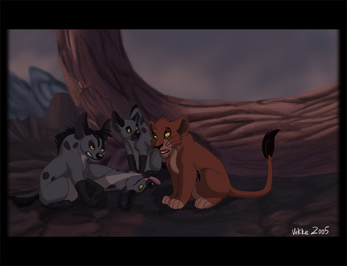 Hyenas from Lion King karatasi la kupamba ukuta possibly containing anime titled Young Hyenas and Scar