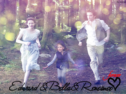 edward - bella & renesmee - breaking-dawn Wallpaper