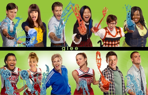 gLee Season 2 Promo Wallpaper wallpaper possibly containing a kimono, a muumuu, and a headshot in The Glee Club