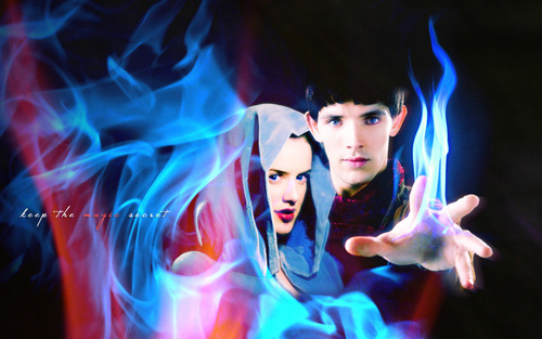 michelle ryan as nimueh with colin morgan as merlin