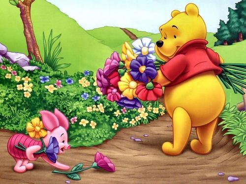 Winnie The Pooh kertas dinding probably containing a bouquet entitled winnie the pooh