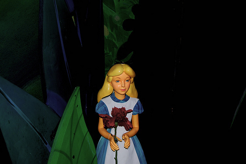 Alice in Alice in Wonderland Ride at Disneyland.