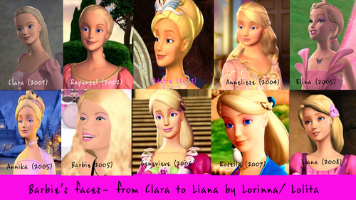All 芭比娃娃 faces- from Clara to Liana