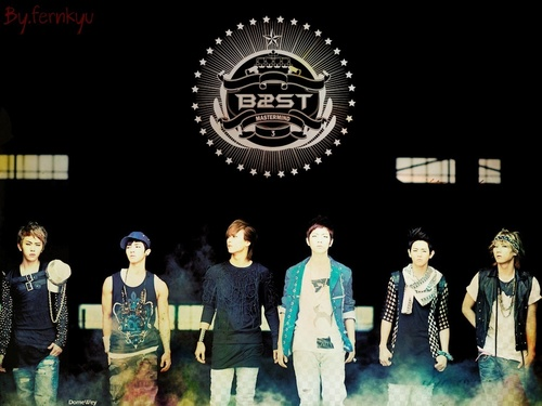 BEAST/B2ST achtergrond probably containing a concert called BEAST achtergrond