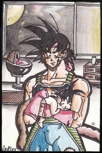 Bardock and his baby son kakkarot