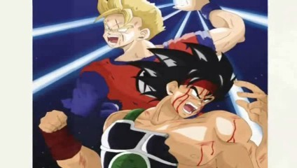 Bardock charging up against the enemy with Gohan helping him fight too!