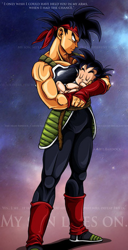 Bardock holding his son Kakkarot in his arms