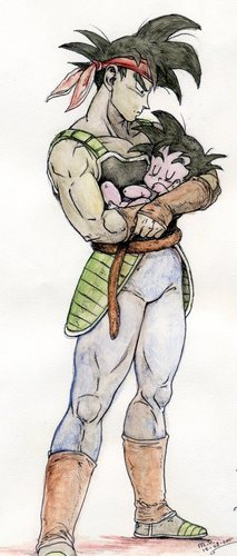 Bardock holding his son in his arms-colored in on paper version