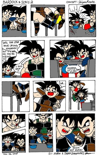Bardock raising his children-to not pick on Goku-mini manga-part 1