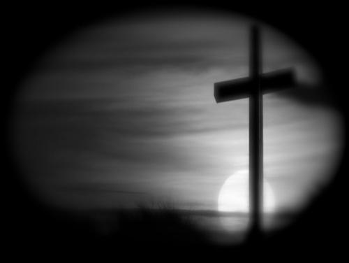 CHRISTIAN menyeberang, salib AT SUNSET