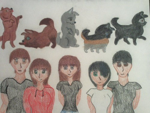 Charlie, Whinny, Trinity, Ally, and Ric the pack drawing.