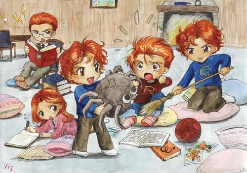 Dex3fan fond d'écran with animé titled Chib Weasleys