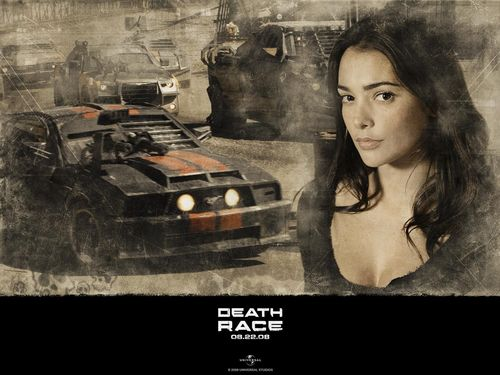 Action Films fondo de pantalla probably containing an internal combustion engine, a sign, and a living room titled Death Race
