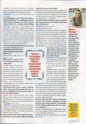 Hugh Laurie+Elisa Edelstein- TVGuide HQ Scan