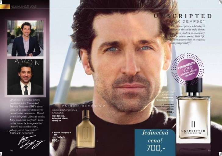 Patrick Dempsey in Avon Catalogue from Czech