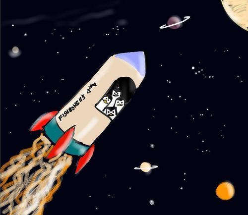Penguins visiting luar angkasa