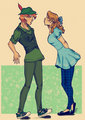 Peter Pan and Wendy - disney fan art