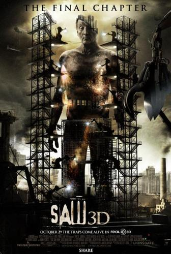 Filem Seram kertas dinding with a alat panggang listrik, bunyi entitled Saw 3D poster