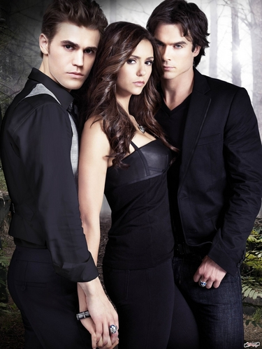 Stefan & Elena wallpaper containing a business suit entitled The Vampire Diaries Cast - New HQ
