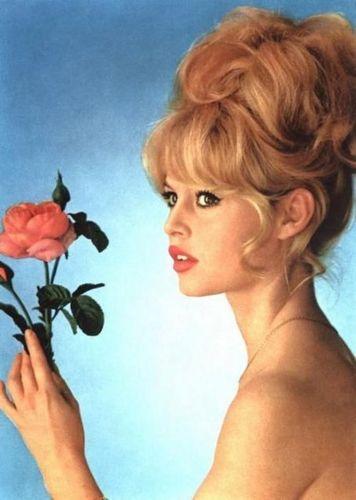 Brigitte Bardot karatasi la kupamba ukuta with a bouquet called rose