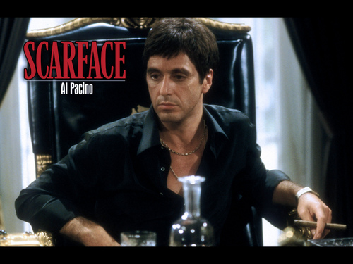 Scarface wallpaper with a sign titled scarface