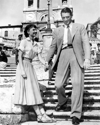 "Audrey Hepburn & Gregory Peck in ""Roman Holiday"""