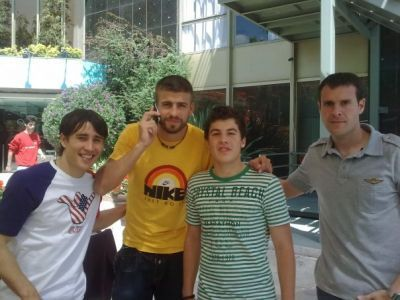 Bojan Krkic and Gerard Pique with his fans