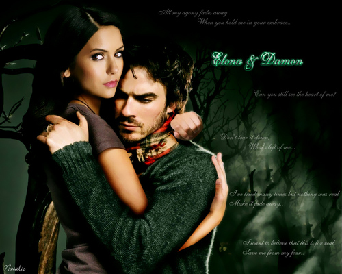 The Vampire Diaries TV Show wallpaper with a portrait entitled Elena and Damon