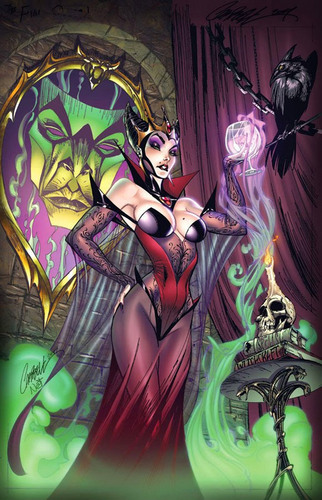 Disney Villains wallpaper containing anime and a stained glass window titled Evil Queen