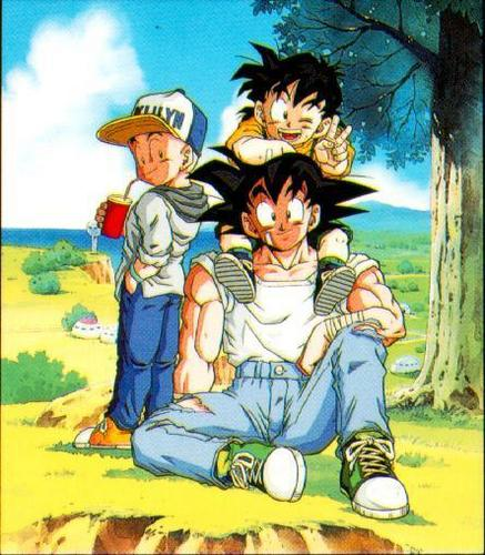 dragon ball z wallpaper with anime called Goku, Gohan and Krillin
