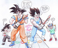 Goku and Vegeta competing in Guitar hero! And Goku is winning!