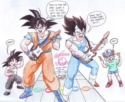 Goku and Vegeta competing in guitare hero! And Goku is winning!