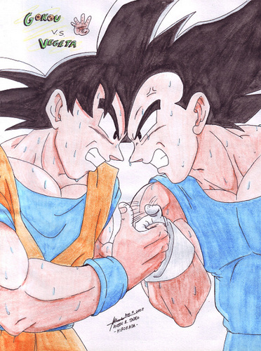 悟空 and Vegeta having a thumb war!