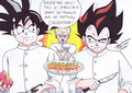 悟空 and Vegeta in the cook off!