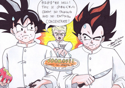 dragon ball z wallpaper containing anime called goku and Vegeta in the cook off!
