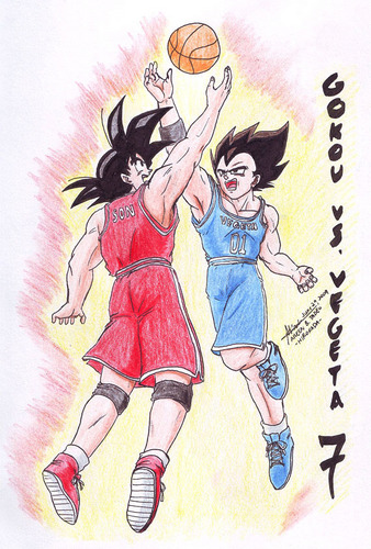 Goku and Vegeta playing mpira wa kikapu against each other