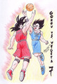 Goku and Vegeta playing pallacanestro, basket against each other