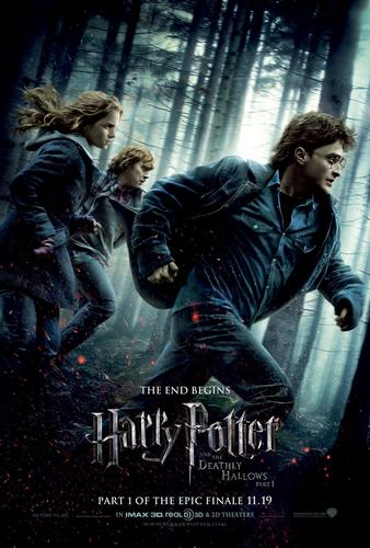 Hi-res Harry, Ron, & Hermione on the run Deathly Hallows: Part I poster