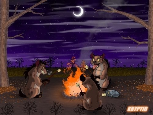 Hyenas from Lion King karatasi la kupamba ukuta called Hyenas Bonfire